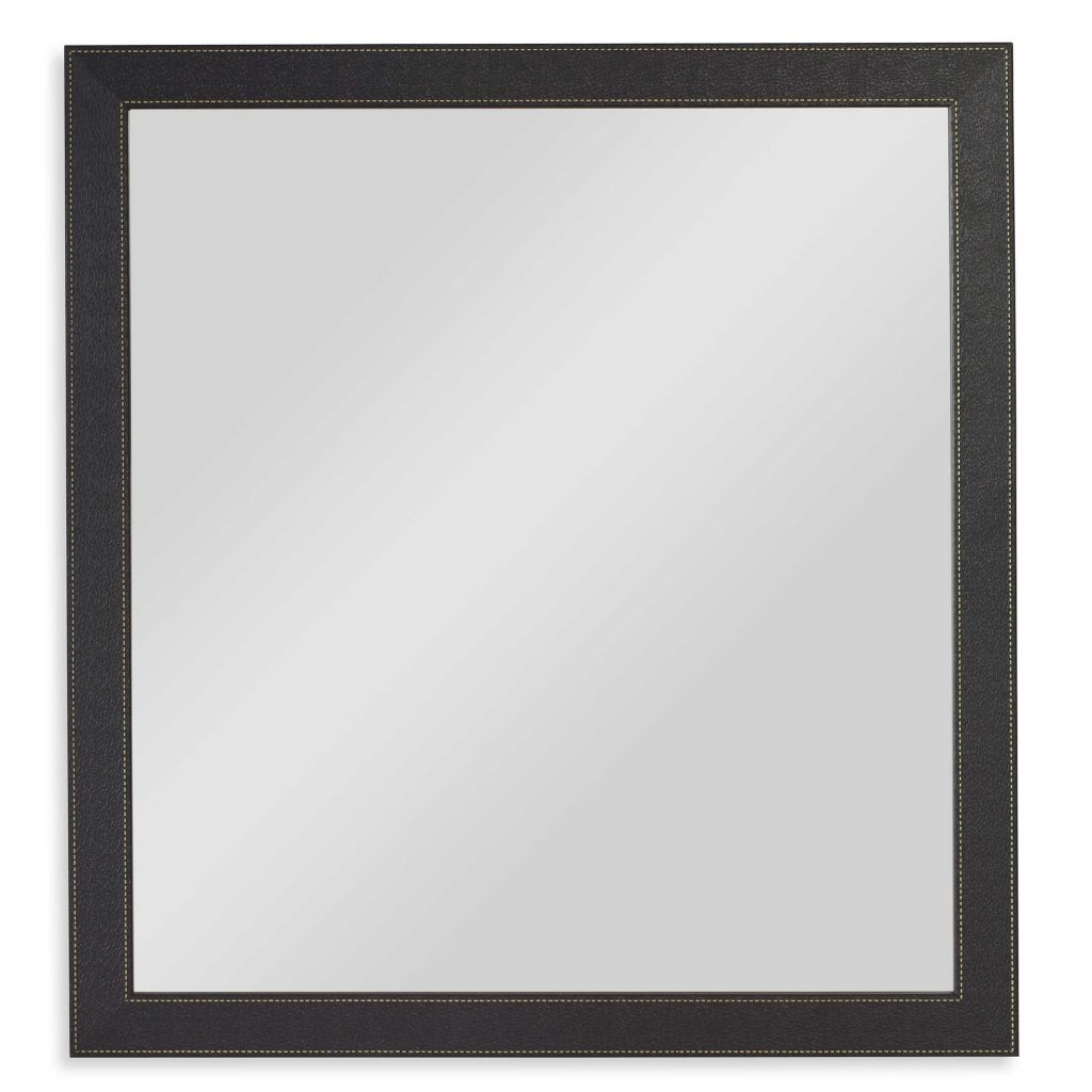 Black Faux Leather Mirror with Contrast Stitching
