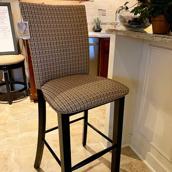 Canadel bar height stools with fabric back and seats