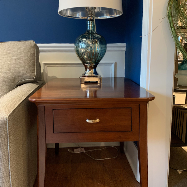 """Solid cherry end tables with drawers 24"""" wide as is"""
