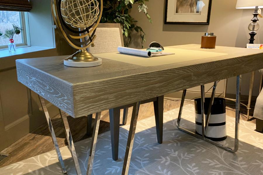 "Grey wood finish desk with metal legs 60""x26"""