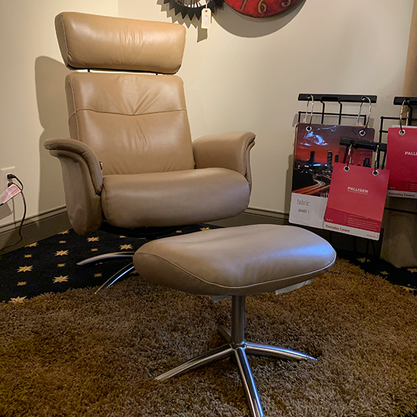 Palliser Camel colored Leather swivel chair and leather ottoman