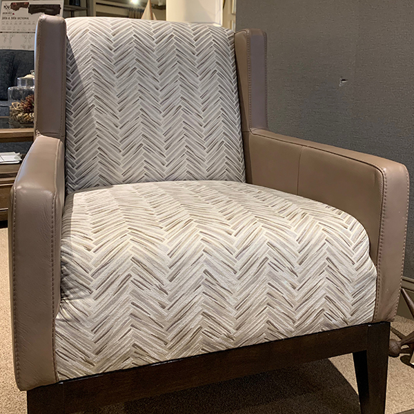 Palliser camel leather and print fabric chair
