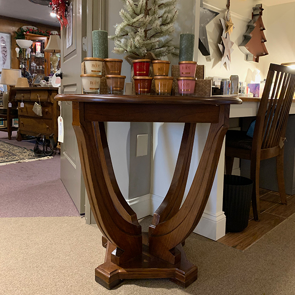 """30""""round Milan wood end table as is"""